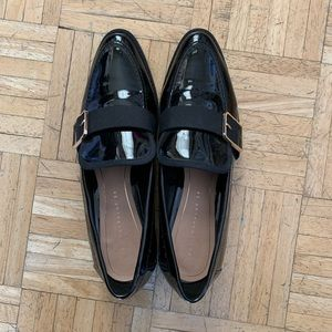 Zara patent black loafers with buckle